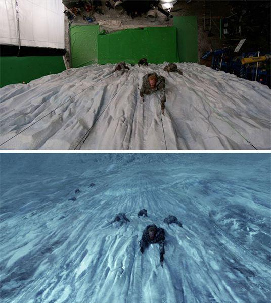 40 imagens de filmes e séries antes e depois dos efeitos especiais 40